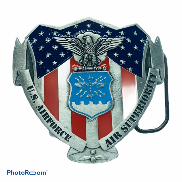 Military Belt Buckle vtg Great American pewter USAF air force Superiority eagle - $19.75