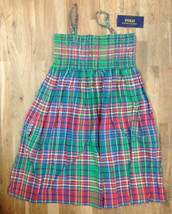 Ralph Lauren Girls' Sleeveless Plaid Madras Smocked Dress, Green, Size 14, $59.5 - $28.70