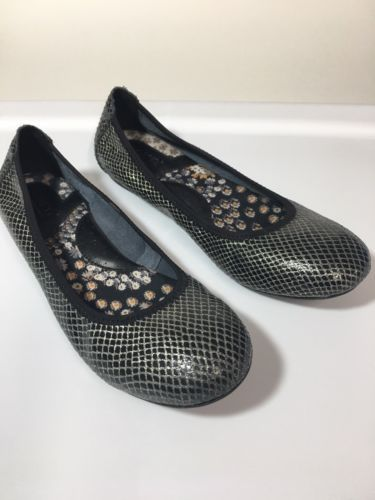 Born Ballet Flats Womens 7M B78209 Black Silver Slip On