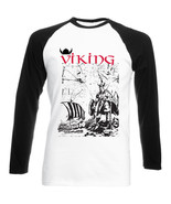 VIKING WARRIOR AND SHIP - NEW BLACK SLEEVED BASEBALL COTTON TSHIRT - $27.47