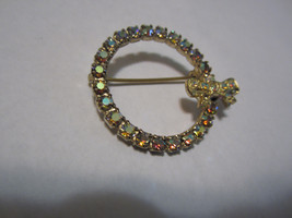 Vintage pin brooch bow circle pastel aurora borealis rhinestones gold to... - $19.00