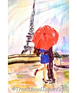Couple kissing under red umbrella and the Eiffel Tower Romantic Cotton T... - $38.04