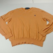 Polo Ralph Lauren Mens V Neck Sweater XL Extra Large Orange Thin Pima Cotton - $23.33