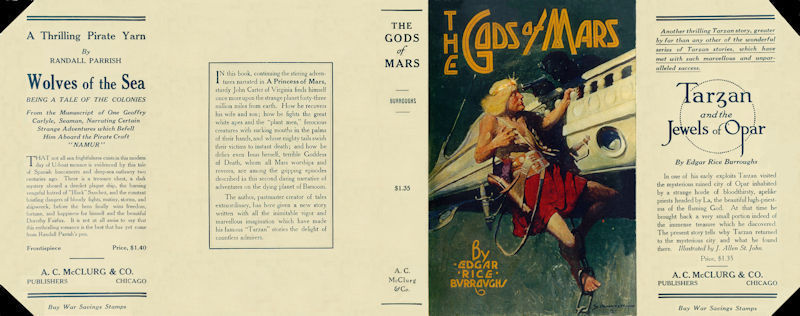 Burroughs, Edgar Rice THE GODS OF MARS facsimile jacket for 1st McClurg ed