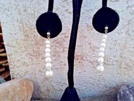 Faux Pearl Dangle Post Earrings, Graduated Stacked Faux Pearl Long Earrings - $4.95