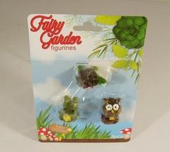 Fairy Garden Mini Figurines 3 Pack Animals Turtle Frog Owl Accessories New - $3.99