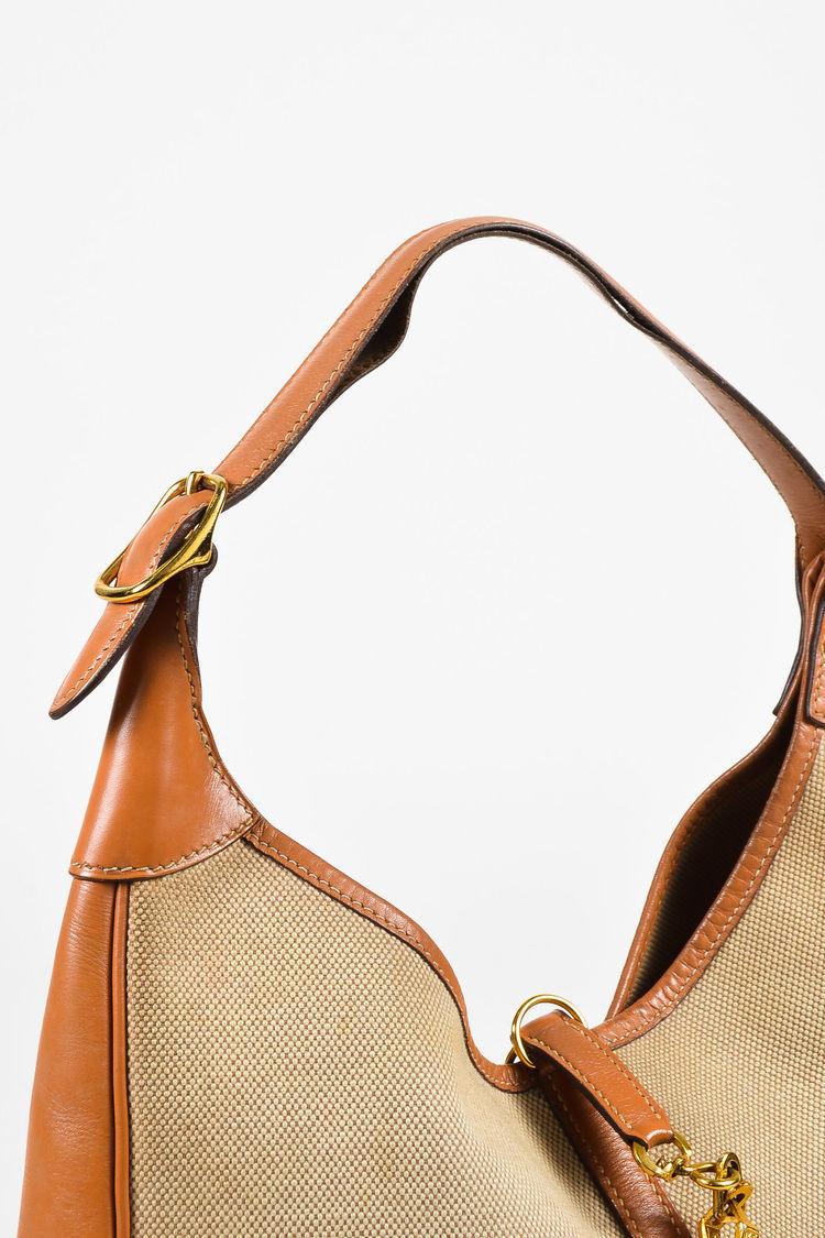 """VINTAGE Hermes Beige Tan Box Calf Leather Canvas """"Trim I"""" Shoulder Bag image 6"""