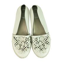 Christian Dior White Leather Laser Cut Floral Embellished Espadrilles 38 - $427.28