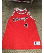 Jerry Sloan Chicago Bulls Red Champion Jersey 50th Anniversary Gold Logo 44 - $346.49