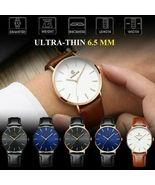 Ultra Thin Watch 6.5mm Mens Fashion Watches Simple Business Quartz Wrist... - $8.99