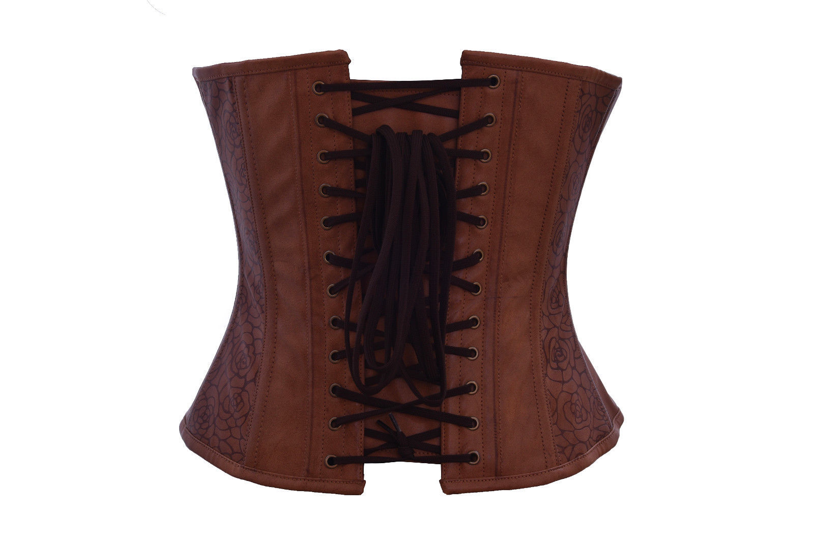 Brown Floral Print Leather Steampunk Waist Training Bustier Overbust Corset Top