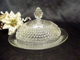 1744 Indiana Crystal Diamond Point Oval Butter Dish - $10.00