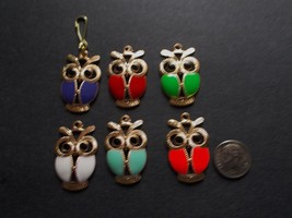 New Gold Alloy & Enamel Owl Charm Zipper Pull Clip On Charm Birds Owls - $2.75