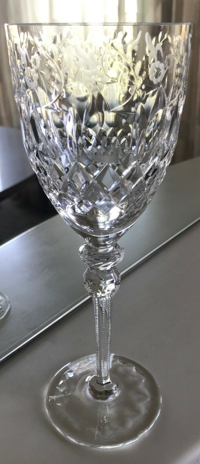 """Rogaska Gallia Cut Crystal Water Goblet X Pattern Base 9 1/4"""" Floral Replacement"""