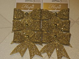 GLITTERY GOLD CHRISTMAS GIFT BOW ORNAMENTS SET OF 6  - $6.44