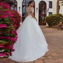 Elegant Lace Nude Illusion Soft Tulle Princess Wedding Dress image 3