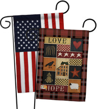 Primitive Collage Love Hope - Impressions Decorative USA - Applique Gard... - $30.97