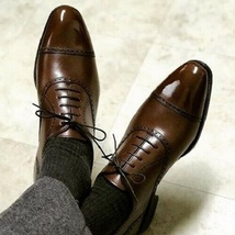 Handmade Men's Brown Lace Up Dress/Formal Leather Oxford Shoes image 3