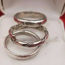 3 Vintage Sterling Silver Narrow Bands  Rings Size 9 1/2  #6173 - $49.00