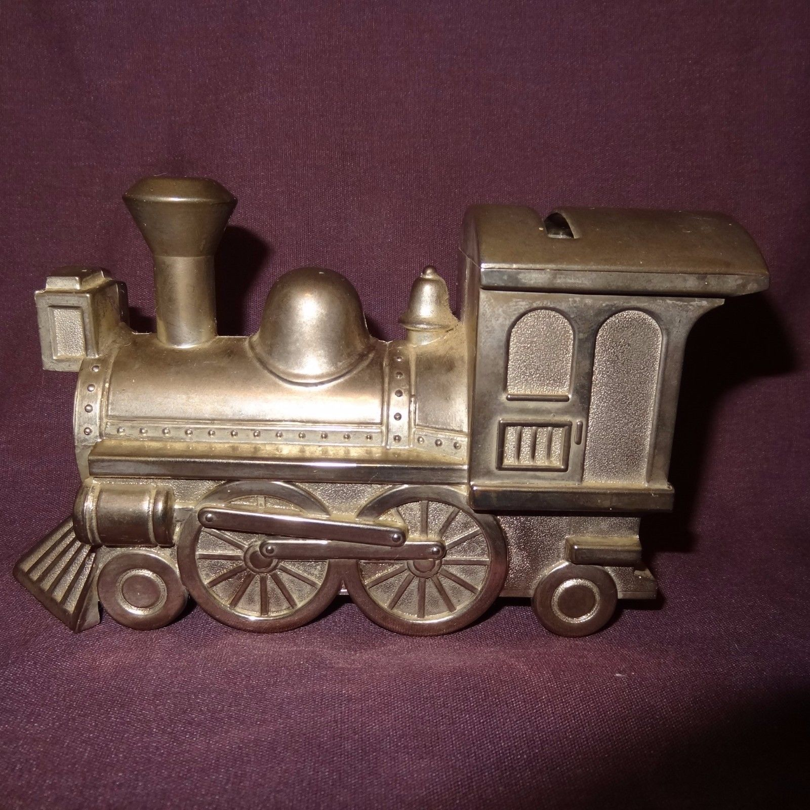 Vintage Train Piggy Penny Bank Metal Color Silver Locomotive Steam Engine 3""