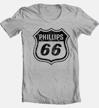 Phillips 66 T-shirt Free Shipping retro vintage style distressed logo grey tee image 1