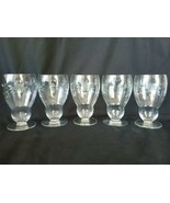Elegant Footed Stemless Etched Floral Crystal Parfait Wine Glasses Set of 5 - $46.50