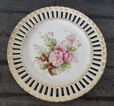 Ucagco China Reticulated Plate Pink Flower Porcelain Occupied Japan - $8.98