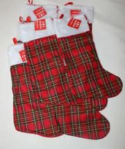 """Lot of 8 Merry Brite 18"""" Christmas Stockings Red Felt Plaid White Plush - $12.86"""