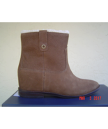 NEW COLE HAAN BROWN LEATHER SHEARLING WEDGE BOOTS SIZE 8 M SIZE 8.5 M $328 - $69.99