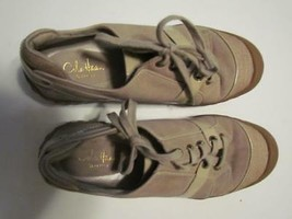 Cole Haan Waterproof Tan Suede Canvas Toe Patent Lace Oxford 065M - $11.39