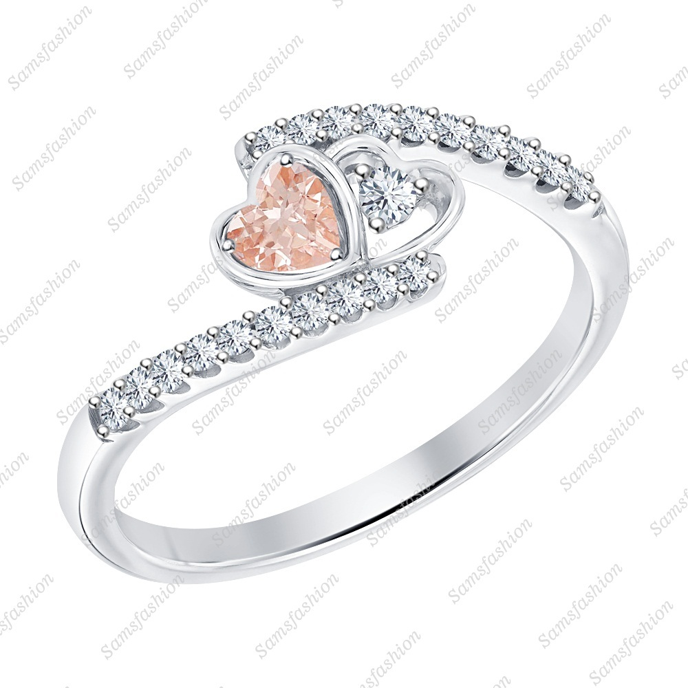 Primary image for Heart Shaped Morganite & Dia 14k White Gold 925 Silver Double Heart Promise Ring
