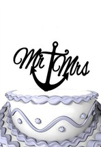 Meijiafei Script Mr and Mrs Cake Topper With Anchor C Nautical Wedding Cake Topp - $19.00