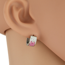 United Elegance Silver Tone Hoop Earrings With Pink Swarovski Style Crystals - $9.99