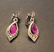 Vintage Avon Signed Purple Romantic Splendor Dangle Clip Earrings Silver... - $6.70