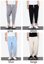 2018 New Summers Linen Pants Men Casual Ankle-Length Harem Pants Solid Linen Cot image 10