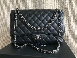 AUTH CHANEL BLACK QUILTED CAVIAR LEATHER MAXI CLASSIC FLAP BAG SHW