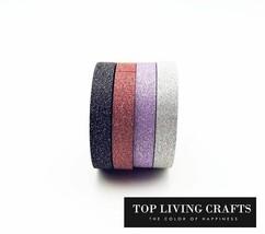 KEVIN&SASA CRAFTS® 4pcs/Set Glitter Washi Tape Set Scrapbooking Decorati... - £3.92 GBP