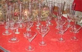 Crystal Barware Wine Noritake Grey Cut Crystal Wine Glasses 17 Vintage Q... - $65.00