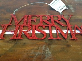 Red Merry Christmas Glitter Ornament Wire Hanger or wall decoration image 3