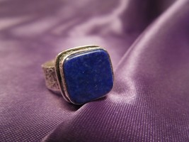 Vintage Sterling Silver Square Lapis Textured Band Ring, Size 5 - $54.45