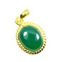Real Onyx Gold Plated Pendant 10 Carat Jewelry Charm Necklace Green Gems... - $52.17