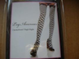 leg ave sexy checkered car racing flag Thigh Hi woman stockings dancer club - $9.00