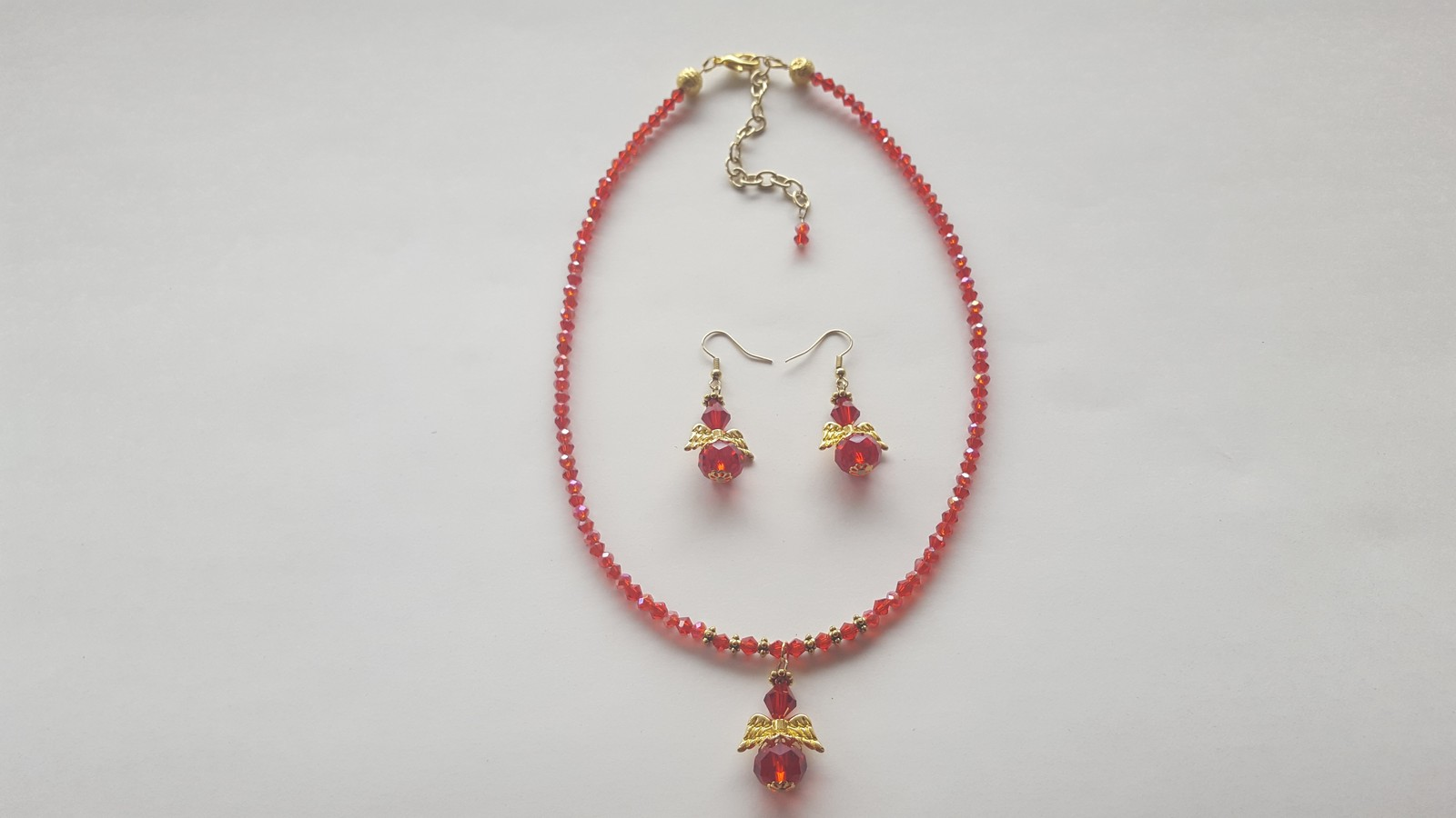 Red crystal agnel necklace pendent 2