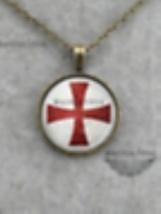 Knights Templar Cross Necklass - Red Cross - Christian  image 1