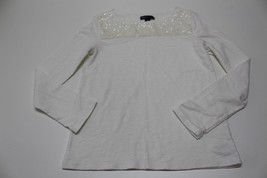 K4889 Girls GAP KIDS Ivory White Sequin LONG SLEEVE SHIRT Top Large/10 - $14.50