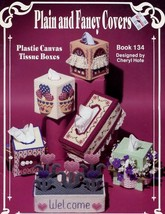Plain and Fancy Covers Plastic Canvas Pattern Booklet 134 Bed Bath Sets ... - $4.47