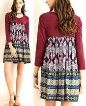 Entro Dress Size S M L Anthropologie Boho Print Babydoll 3/4 Sleeve Wome... - $32.99