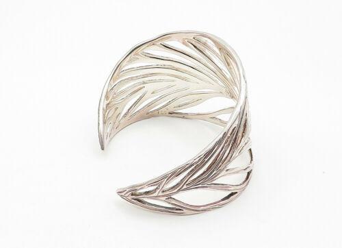 VEVA 925 Sterling Silver - Vintage Open Leaf Designed Wide Cuff Bracelet - B6316 image 3