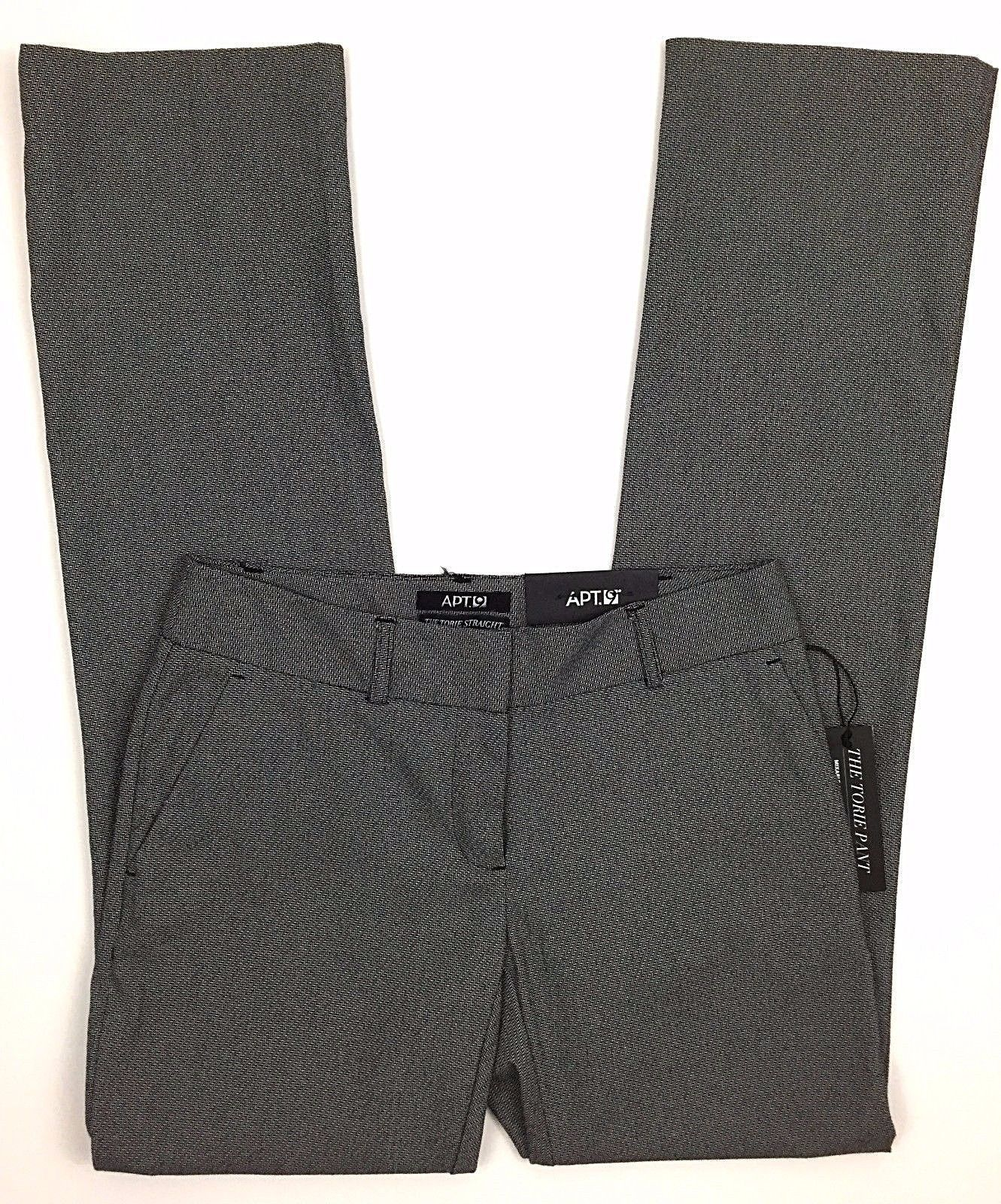 f2171a37ec9 57. 57. Previous. Apt 9 Torie Dress Pants Sz 2 Gray Herringbone Modern Fit  Straight Leg Mid Rise