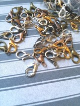 14 Lobster Clasps 10mm Assorted Lot Jewelry Making Supplies Findings Silver - $2.10